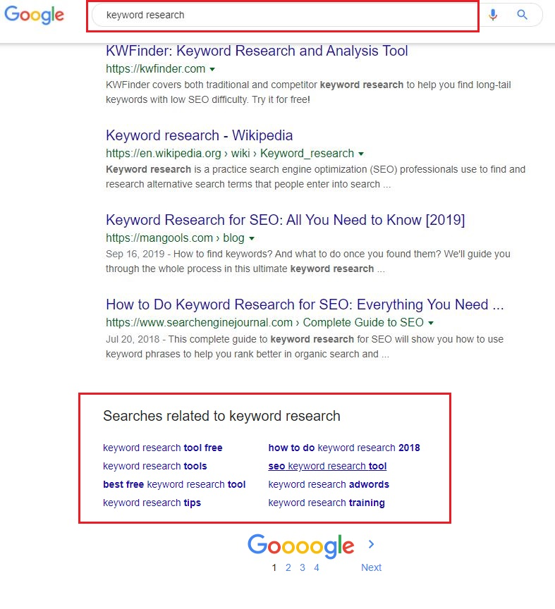 keyword research in google